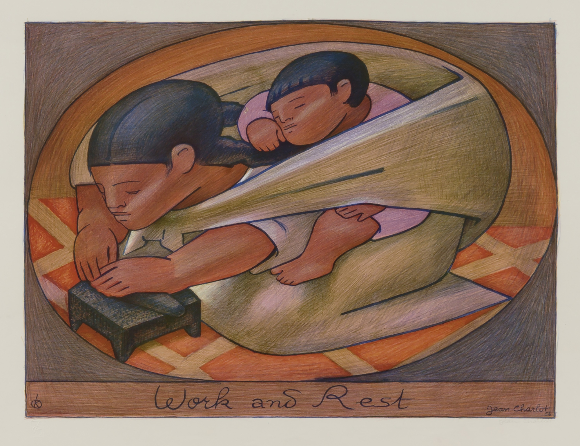 "Jean Charlot, ""Work and Rest"", 1956, color lithograph, Smithsonian American Art Museum"
